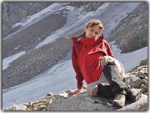 Irina Lykosova above stone at bottom of NGPI pass